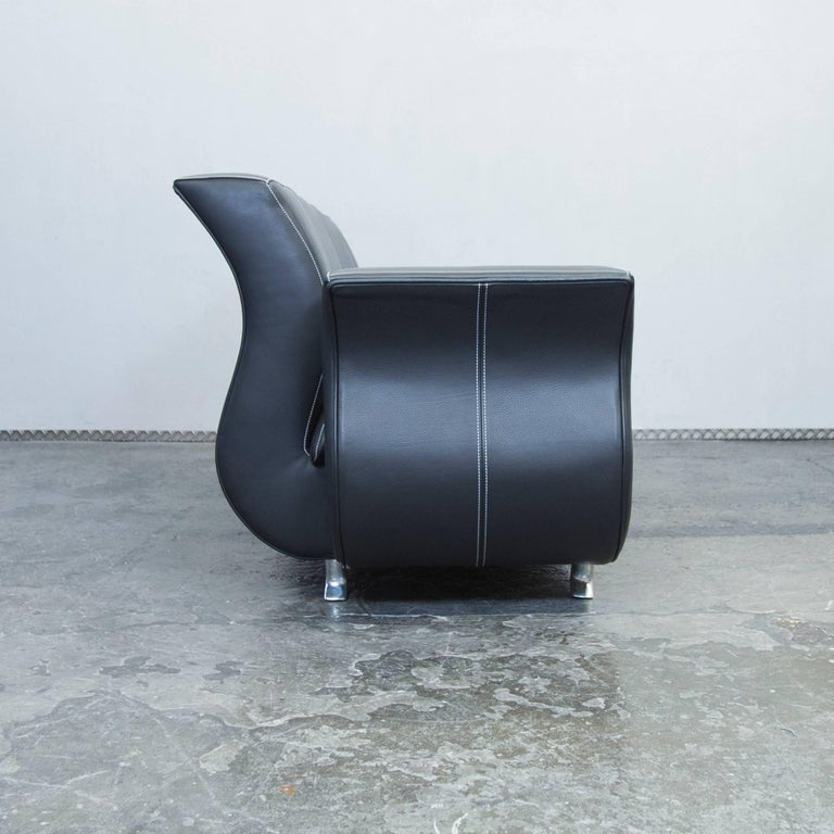 bretz moon designer leather sofa black three seat couch. Black Bedroom Furniture Sets. Home Design Ideas