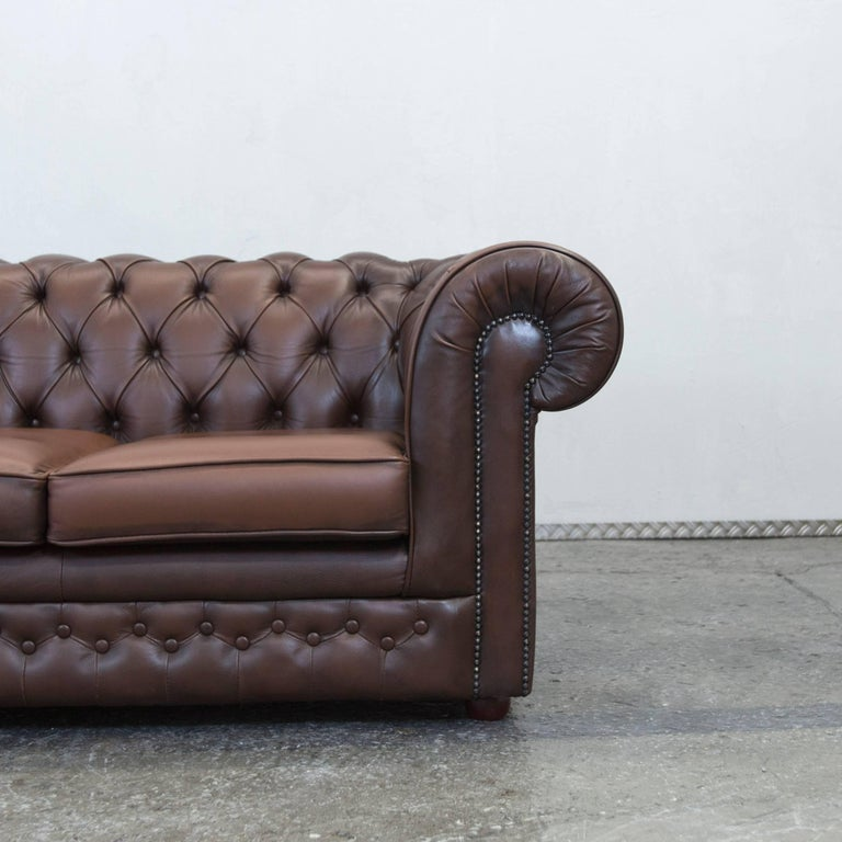 Thomas Lloyd Chesterfield Leather Sofa Brown Three Seat Couch Vintage Retro at 1stdibs