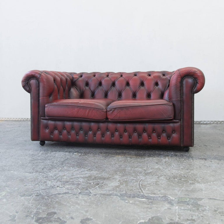 Chesterfield Leather Sofa Oxblood Red Two Seat Couch
