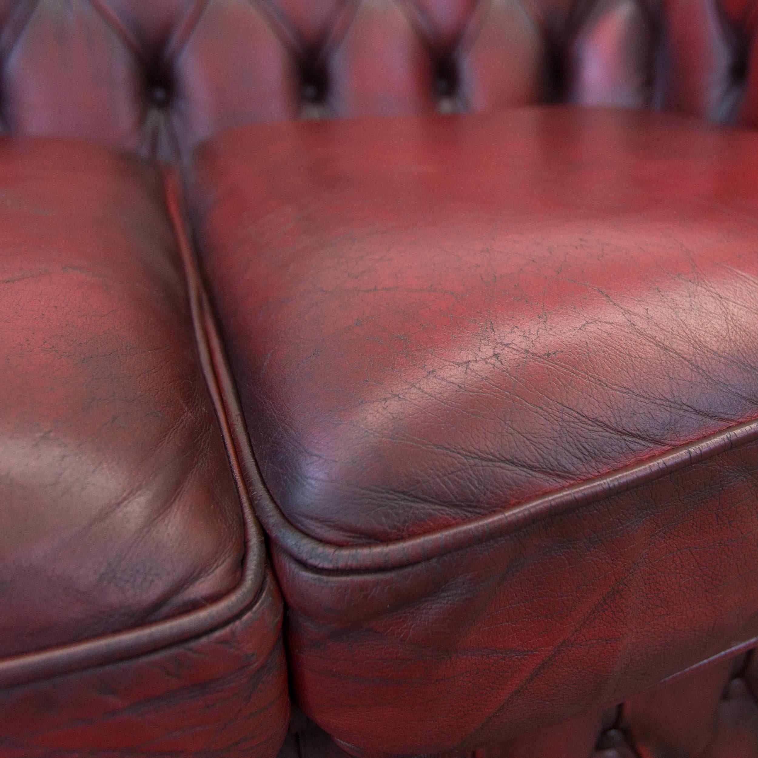 20th Century Chesterfield Leather Sofa Oxblood Red Two Seat Couch Vintage  Retro For Sale