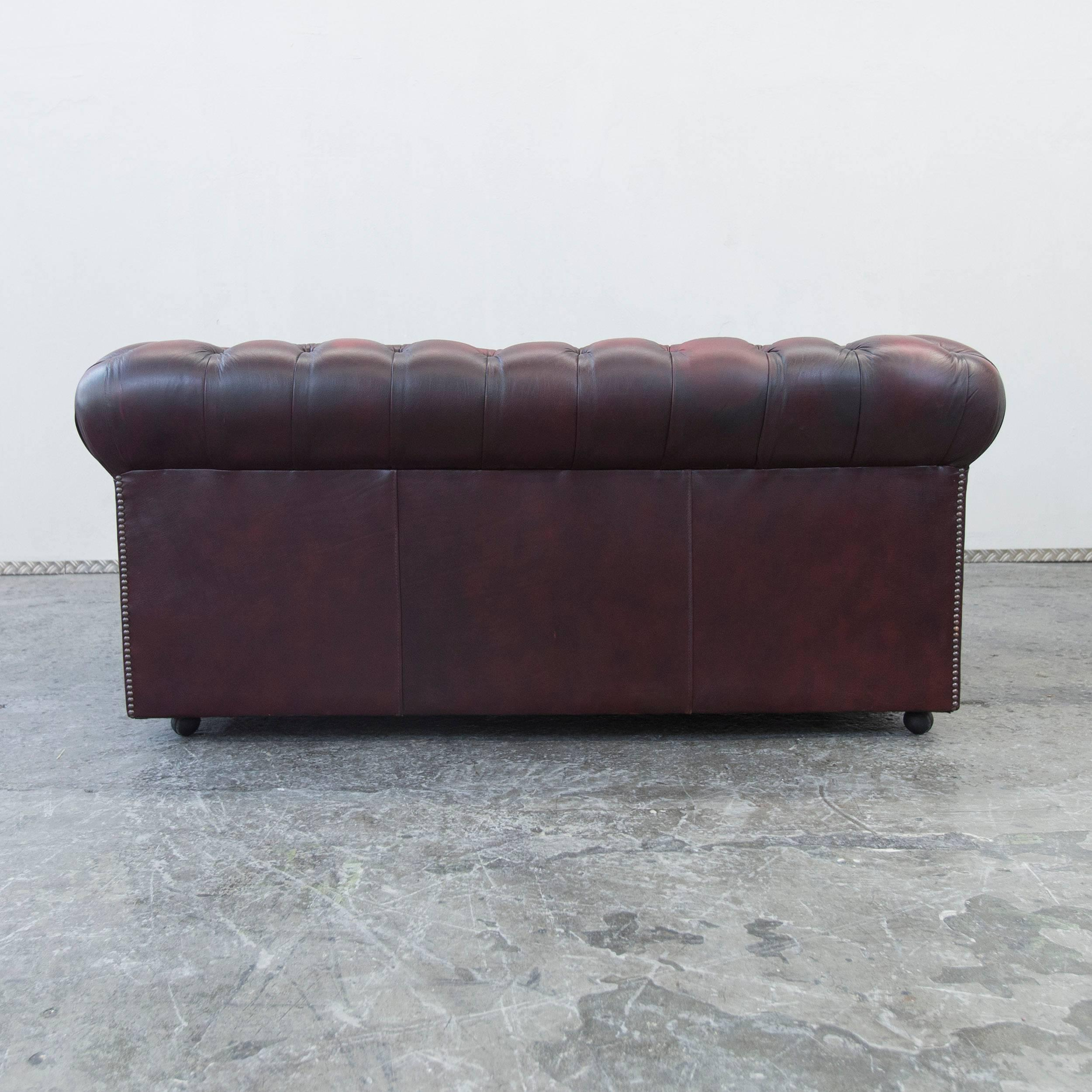 Chesterfield Oxblood Sofa #10 - Chesterfield Leather Sofa Oxblood Red Two-Seat Couch Vintage Retro For Sale  2