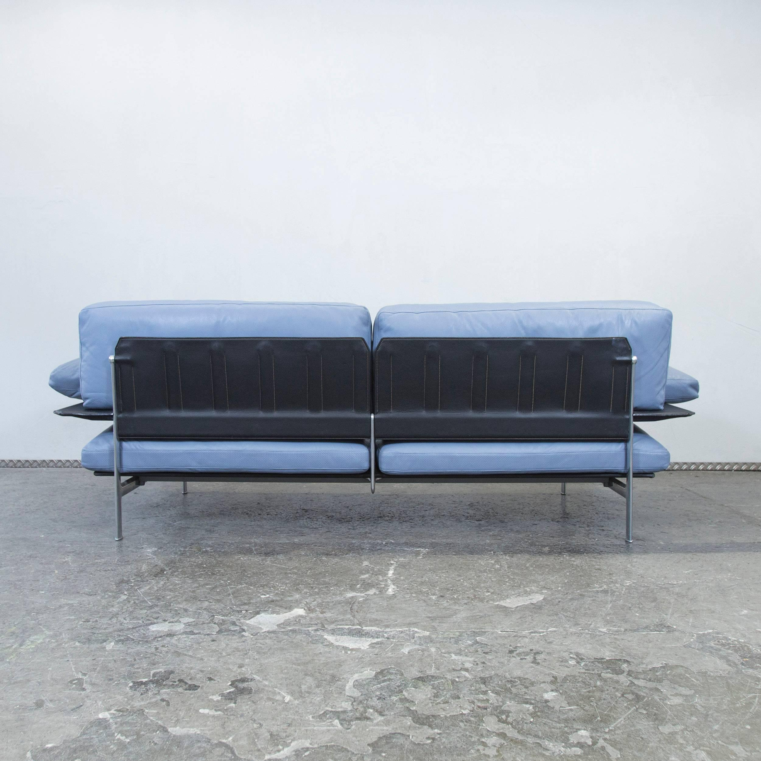 B&B Italia Designer Sofa Blue Leather Two Seat Couch Modern at 1stdibs