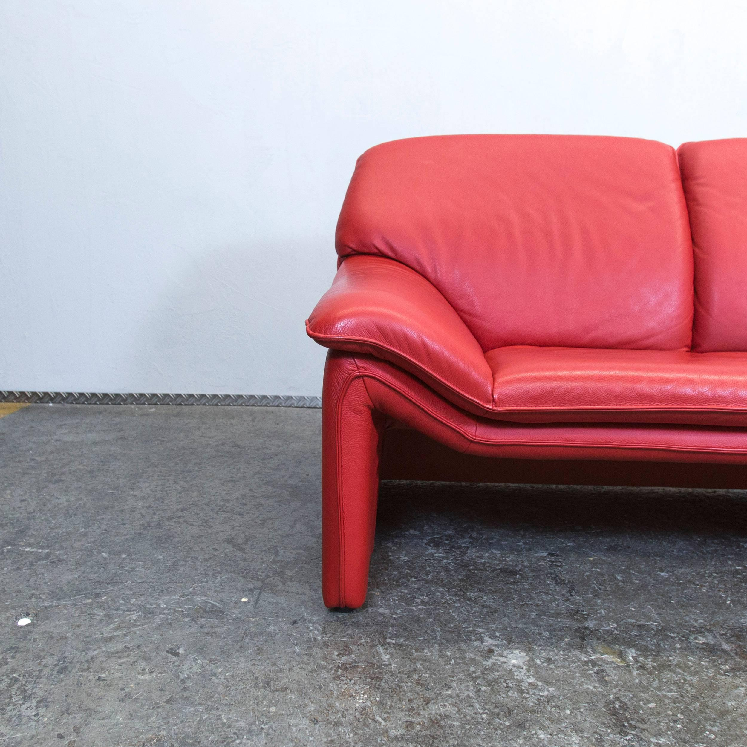 Red Colored Original Laauser Designer Leather Sofa In A Minimalistic And Modern  Design.