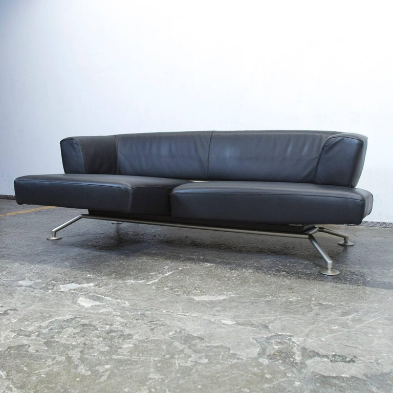 Designer couch  COR Circum Designer Sofa Black Leather Two-Seat Couch Function ...