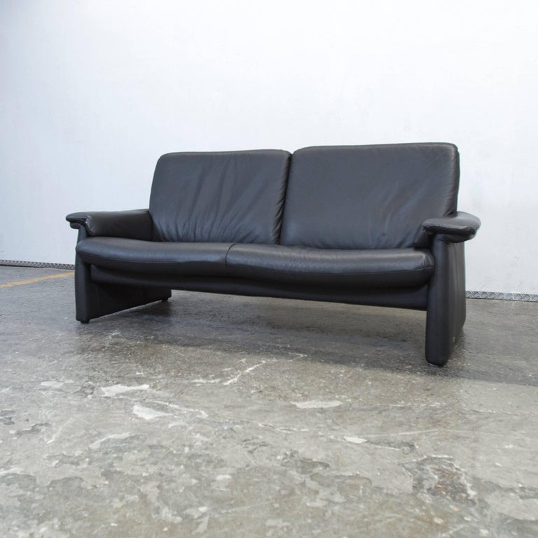 laauser designer sofa black leather three seat couch modern 2
