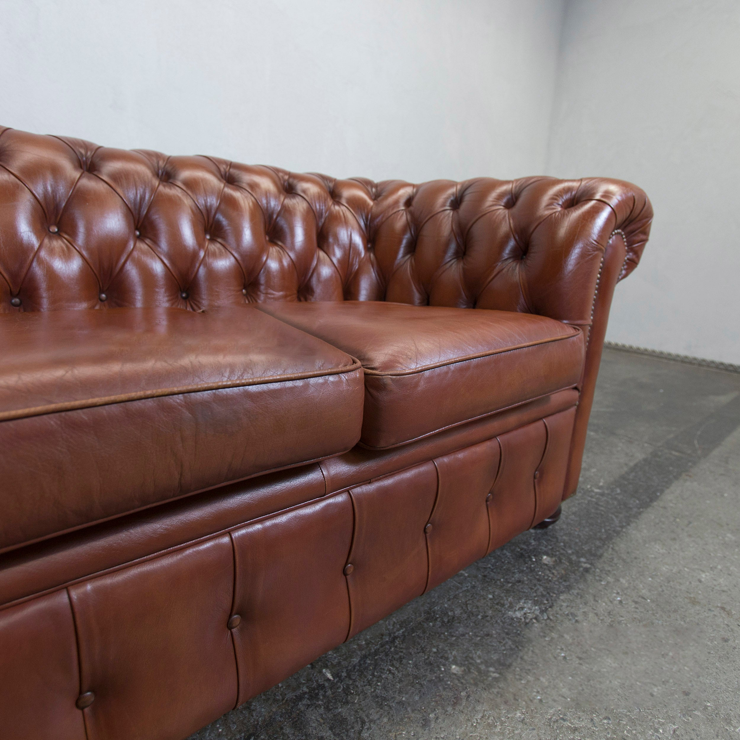Chesterfield Leather Sofa Brown Two Seat Couch Vintage Retro At 1stdibs