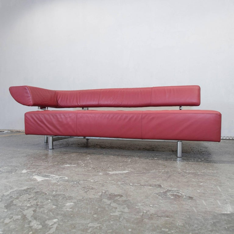 Cor Arthe Designer Leather Sofa Red Three Seat Couch Recamiere Function Modern 2