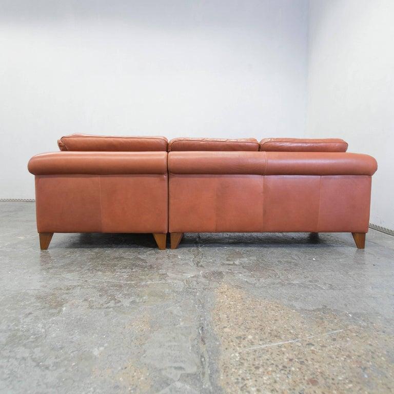 Machalke designer leather cornersofa brown sofa vintage at for Wohnlandschaft cognac