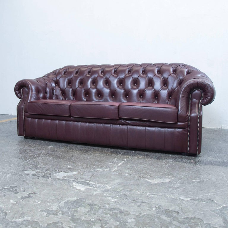 chesterfield sofa red brown leather three seat couch retro vintage at 1stdibs. Black Bedroom Furniture Sets. Home Design Ideas
