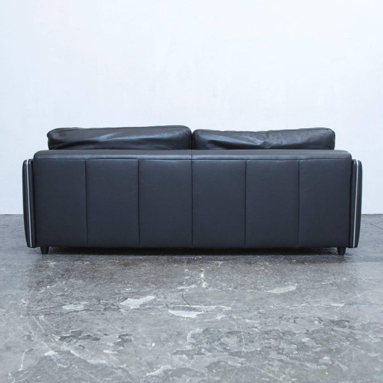 musterring designer sofa black leather two seat couch modern for sale at 1stdibs. Black Bedroom Furniture Sets. Home Design Ideas