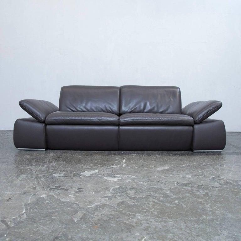 Koinor Evento Designer Sofa Brown Mocca Leather Three-seat