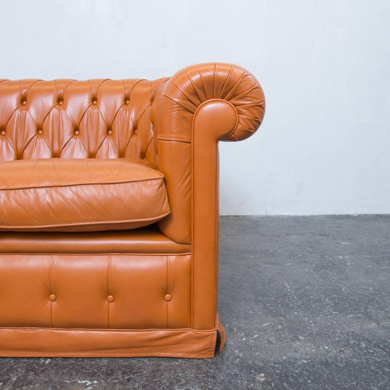 Chesterfield Sofa Orange Cognac Brown Leather Two Seat Couch Vintage Retro At 1stdibs