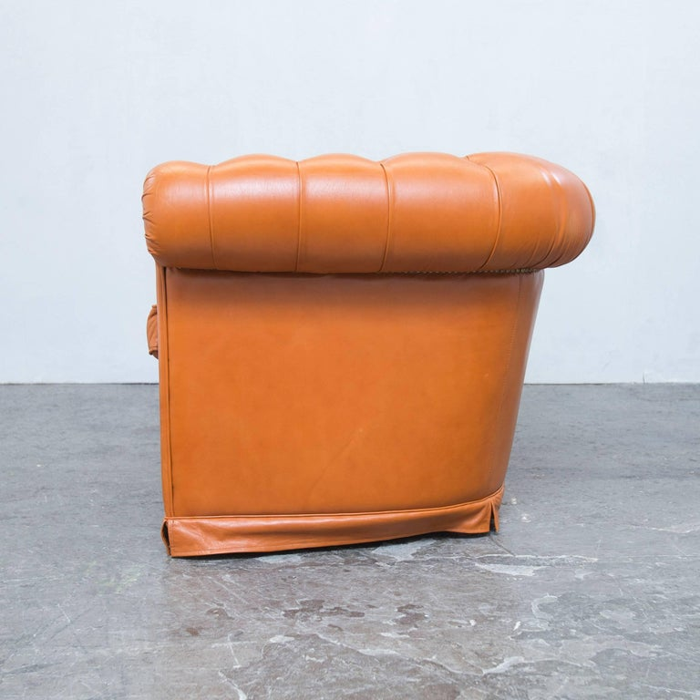 chesterfield sofa orange cognac brown leather two seat couch vintage retro at 1stdibs. Black Bedroom Furniture Sets. Home Design Ideas