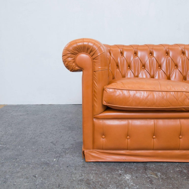 chesterfield sofa orange cognac brown leather two seat. Black Bedroom Furniture Sets. Home Design Ideas