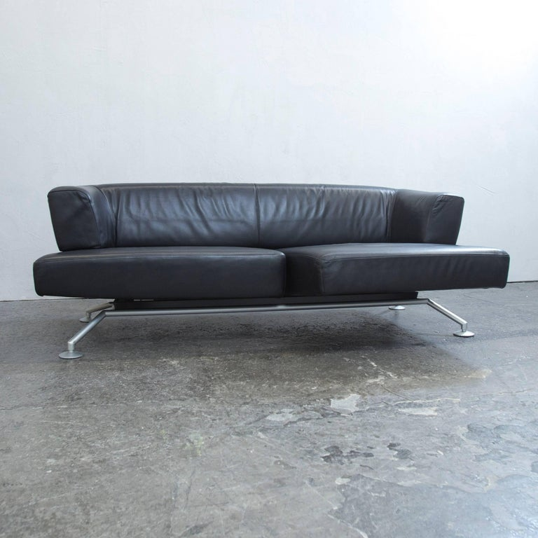 cor circum designer sofa black leather three seat couch function modern 3