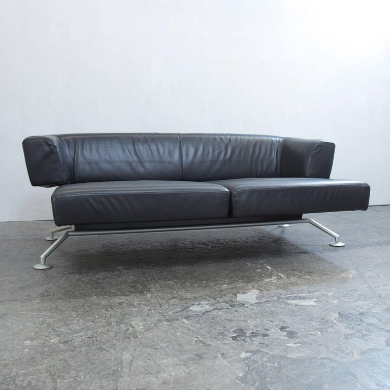 cor circum designer sofa black leather three seat couch function modern at 1stdibs. Black Bedroom Furniture Sets. Home Design Ideas