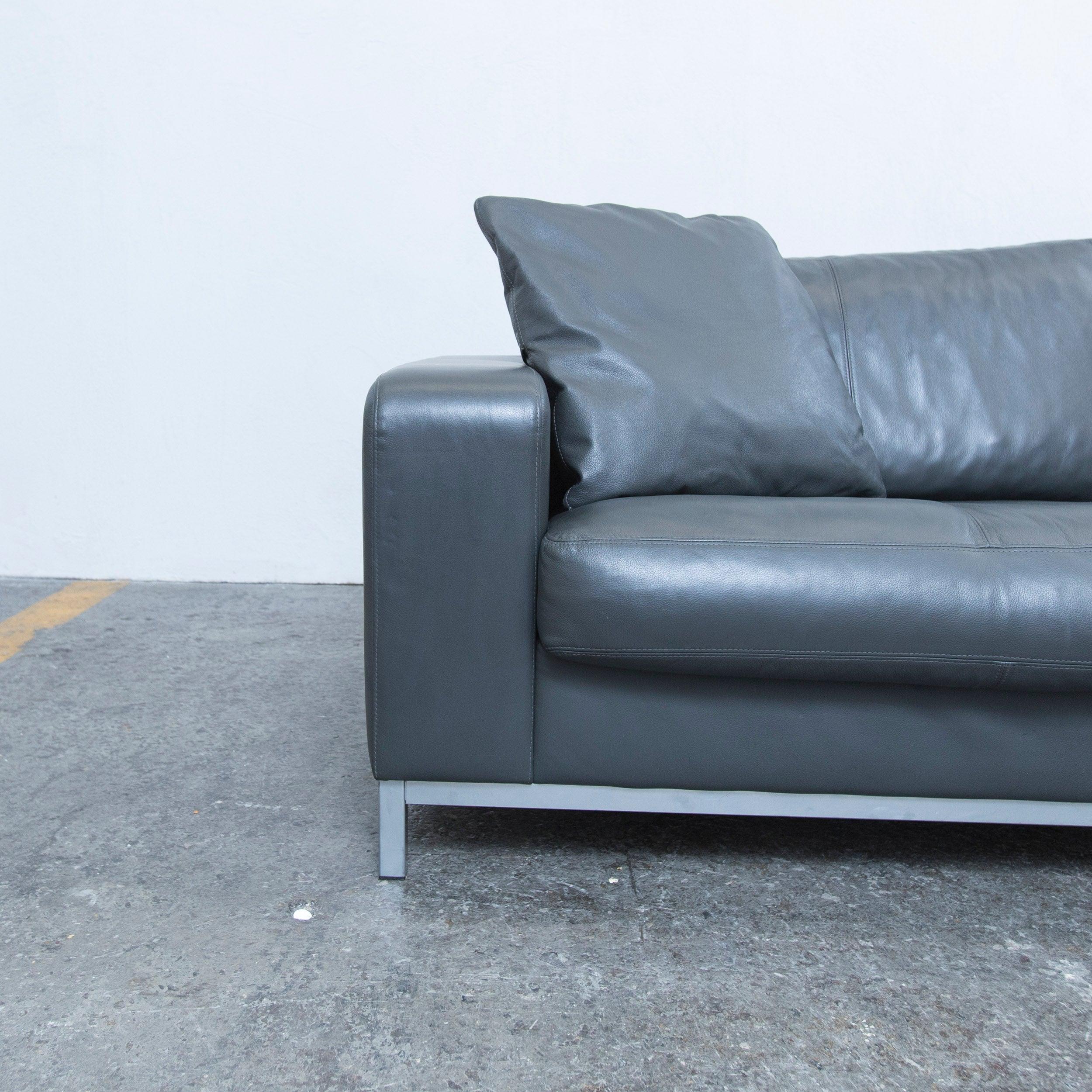 Gut Machalke Designer Sofa In Grey Leather Three Seat Couch, Modern At 1stdibs