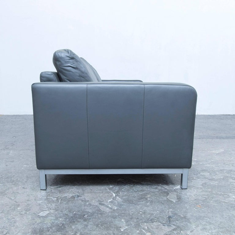 machalke designer sofa in grey leather three seat couch modern for sale at 1stdibs. Black Bedroom Furniture Sets. Home Design Ideas