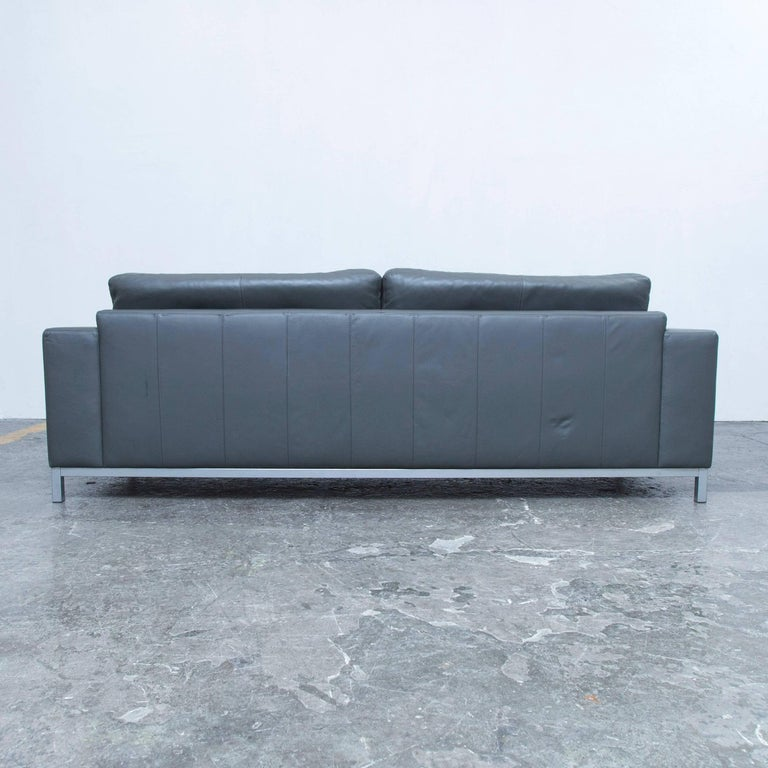 machalke designer sofa in grey leather three seat couch. Black Bedroom Furniture Sets. Home Design Ideas
