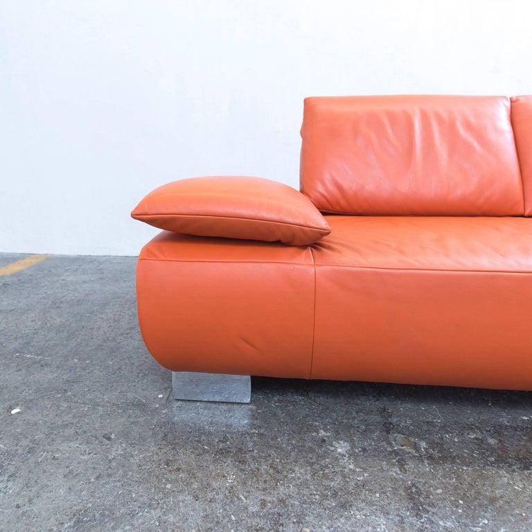 Koinor-Volare Designer Sofa In Orange Leather Three-Seat Couch