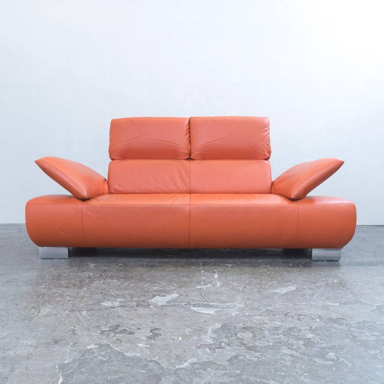 koinor volare designer sofa in orange leather three seat couch function modern 3