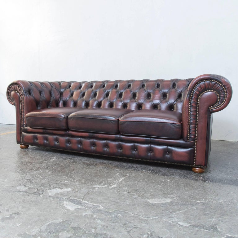 original chesterfield leather sofa brown three seat couch vintage retro at 1stdibs. Black Bedroom Furniture Sets. Home Design Ideas