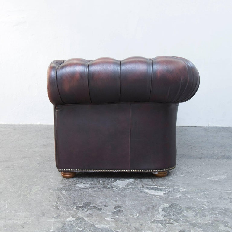 original chesterfield leather sofa brown three seat couch. Black Bedroom Furniture Sets. Home Design Ideas