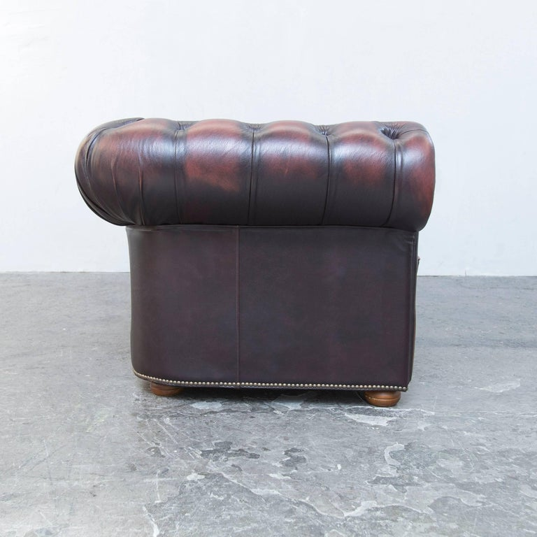 Original Chesterfield Leather Sofa Brown Three Seat Couch Vintage Retro at 1st