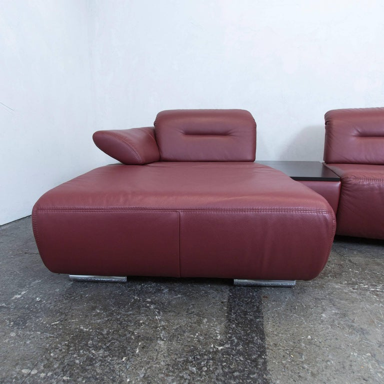 Recamiere modern  Designer Corner Sofa Bordeaux Red Leather Couch Function Recamiere ...