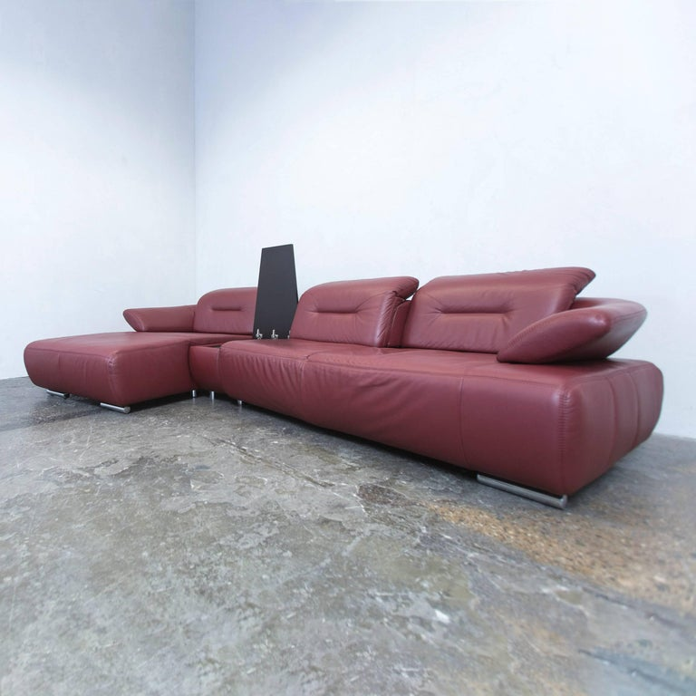 Designer corner sofa bordeaux red leather couch function for Funktions ecksofa