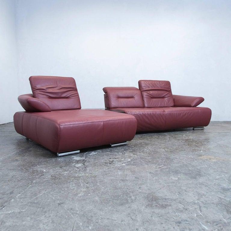 Designer corner sofa leather blue function couch modern at for Klassisches haushaltsprinzip