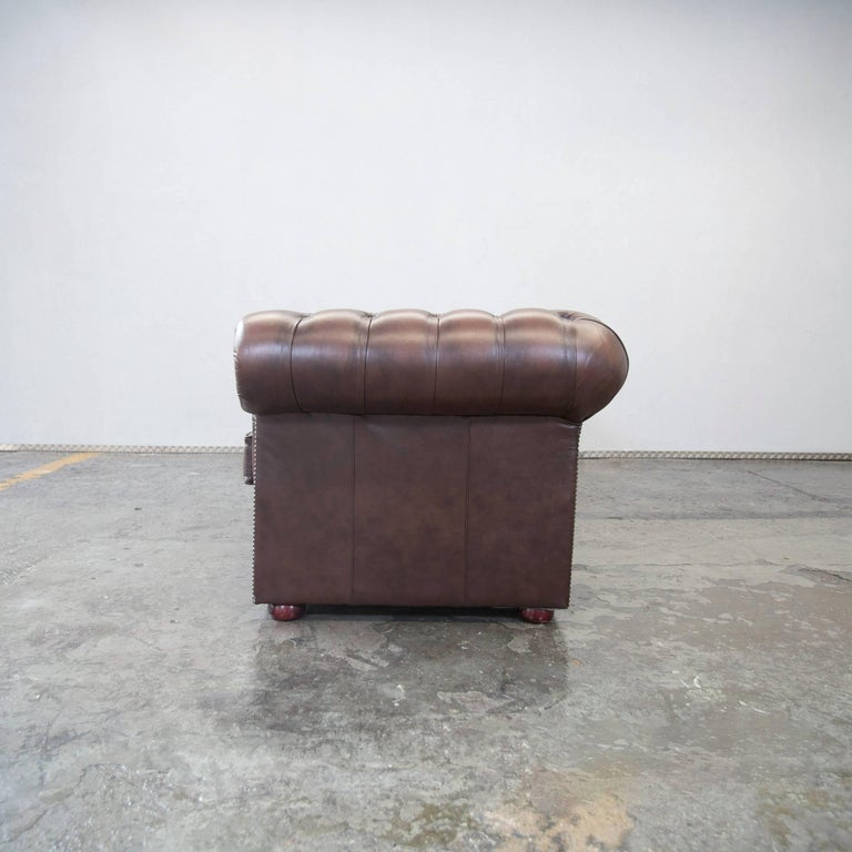 Original Chesterfield Leather Sofa Brown Five Seat Couch Vintage Retro For Sale at 1stdibs