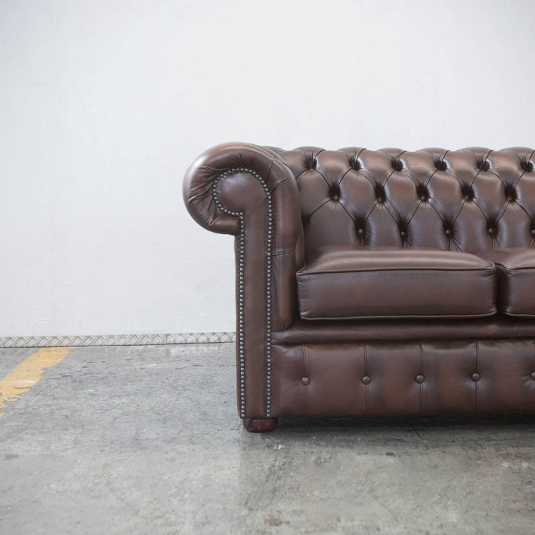 Original Chesterfield Leather Sofa Brown Five Seat Couch Vintage