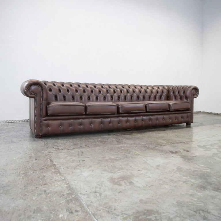 original chesterfield leather sofa brown five seat couch vintage retro for sale at 1stdibs. Black Bedroom Furniture Sets. Home Design Ideas
