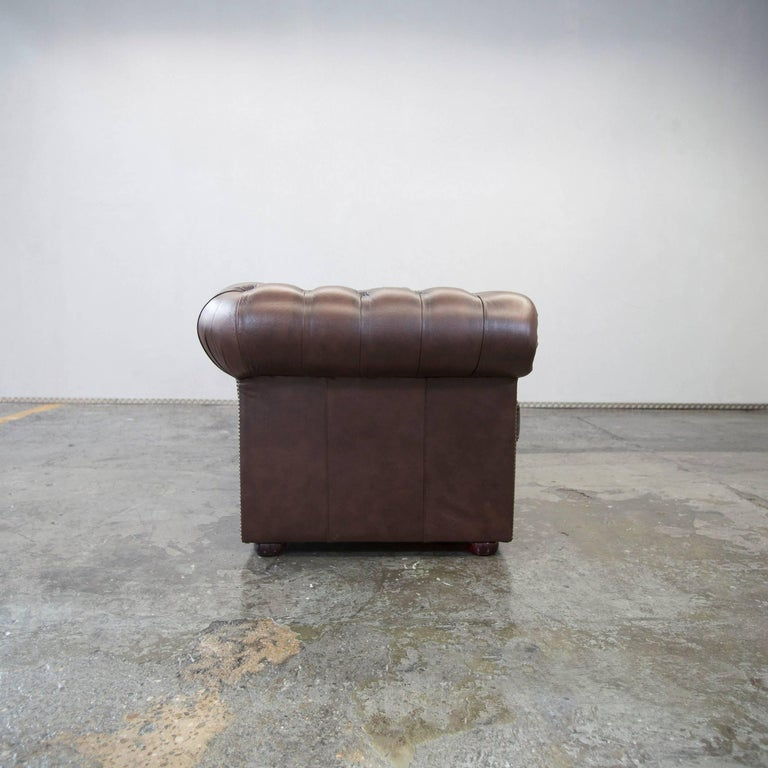 Original chesterfield leather sofa brown five seat couch vintage retro for sale at 1stdibs for Chesterfield sofa original