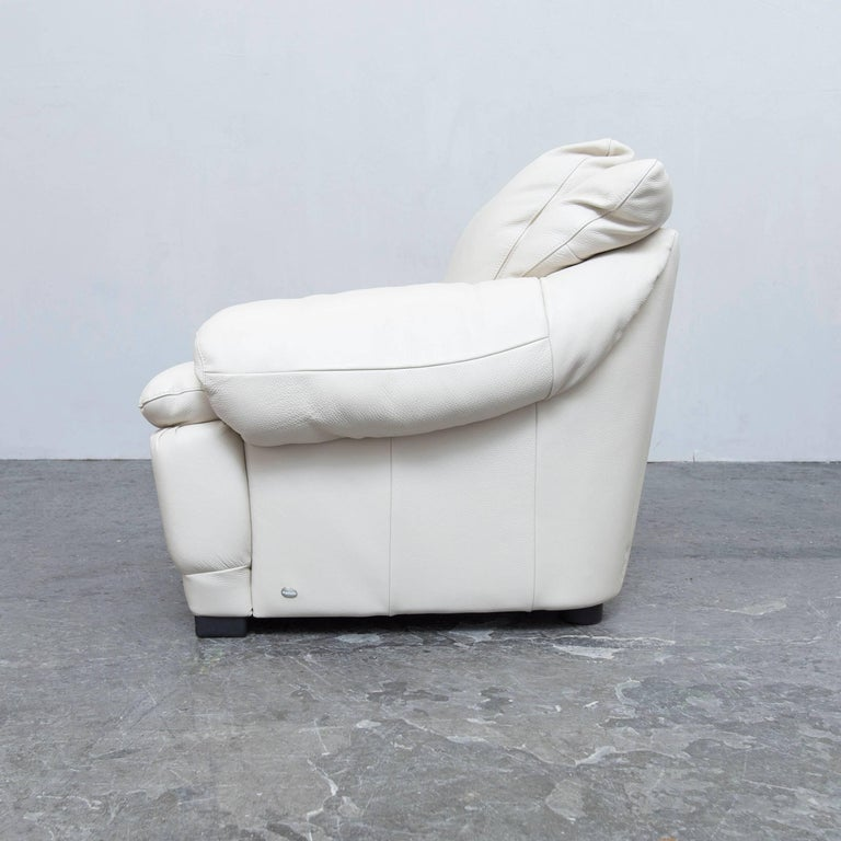 Italsofa By Natuzzi Designer Leather Chair Creme White