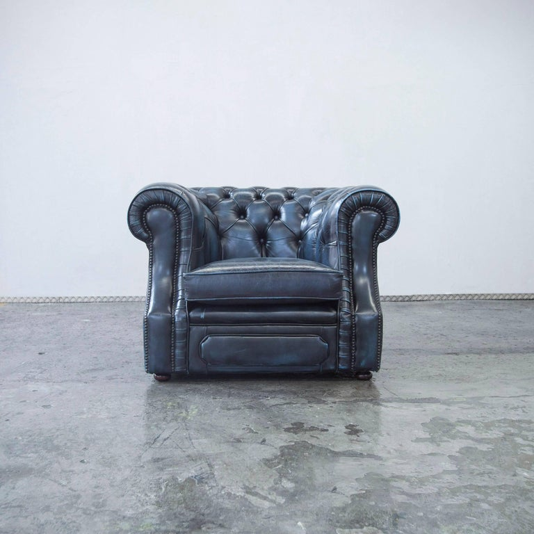 original chesterfield leather chair blue one seat vintage retro at 1stdibs. Black Bedroom Furniture Sets. Home Design Ideas