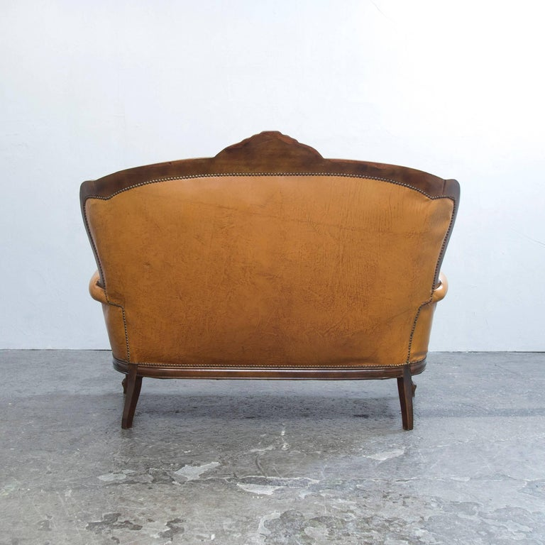 Chesterfield Sofa In Brown Leather Cognac Two Seat Sofa In Retro Vintage Style At 1stdibs