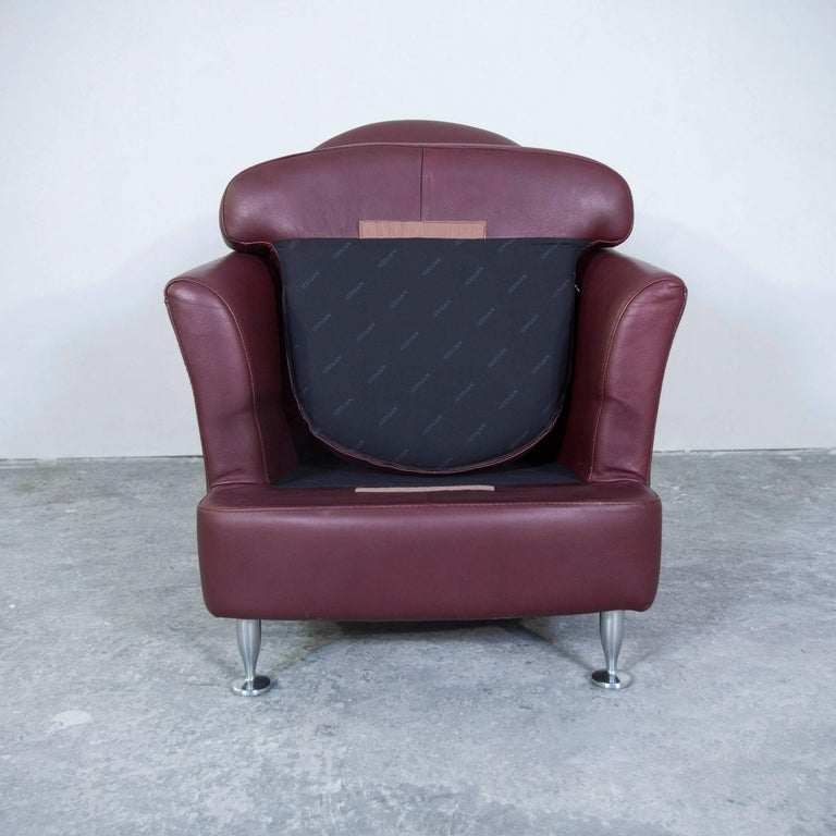 Natuzzi Designer Leather Armchair Red Modern At 1stdibs - Red-italian-leather-armchairs-from-natuzzi