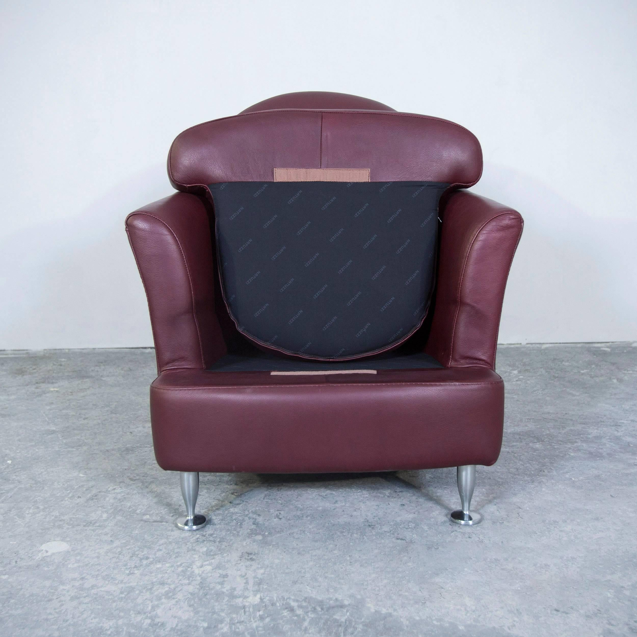 Italian Natuzzi Designer Leather Armchair Red Modern For Sale