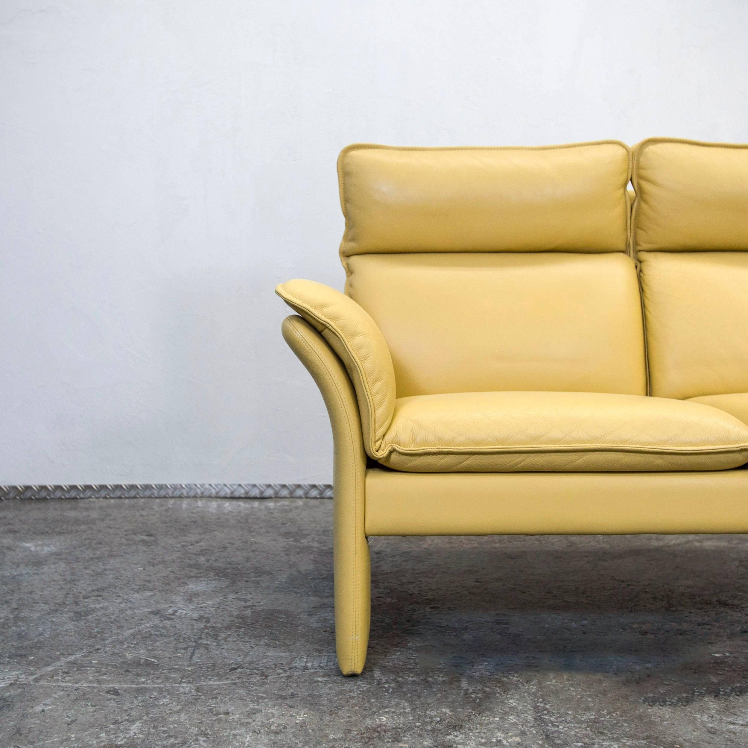 Dreipunkt Designer Leather Sofa Mustard Yellow Two Seat Couch Modern 2
