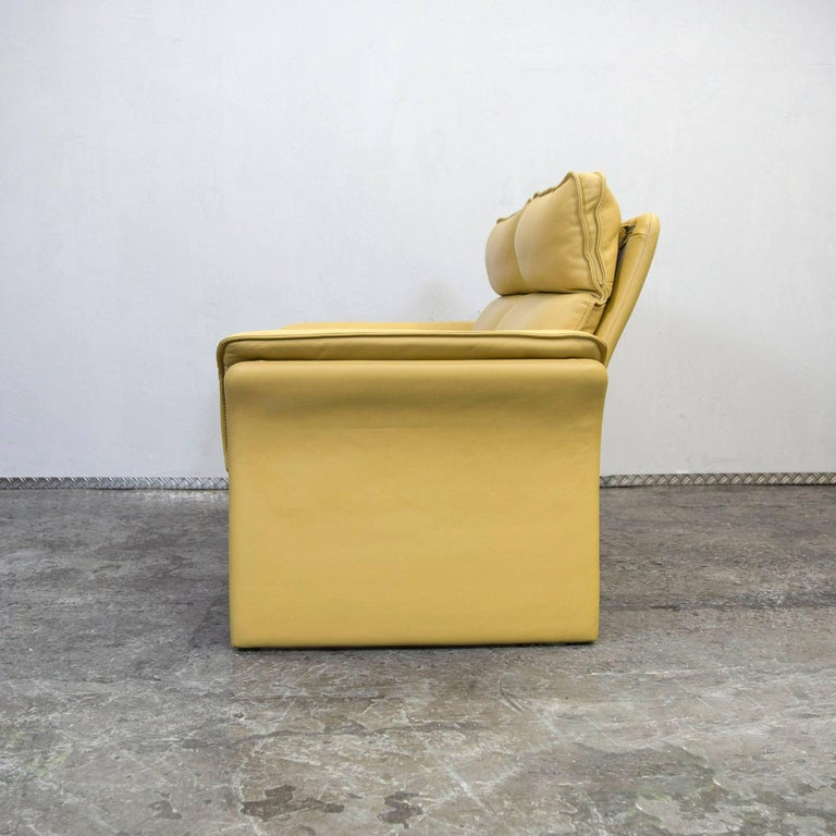 Yellow Modern Leather Sofas: Dreipunkt Designer Leather Sofa Mustard Yellow Two-Seat