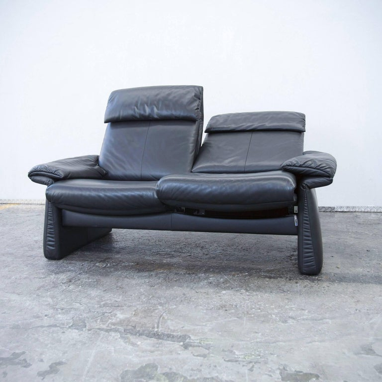 erpo designer leather sofa black two seat couch relax function modern for sale at 1stdibs. Black Bedroom Furniture Sets. Home Design Ideas