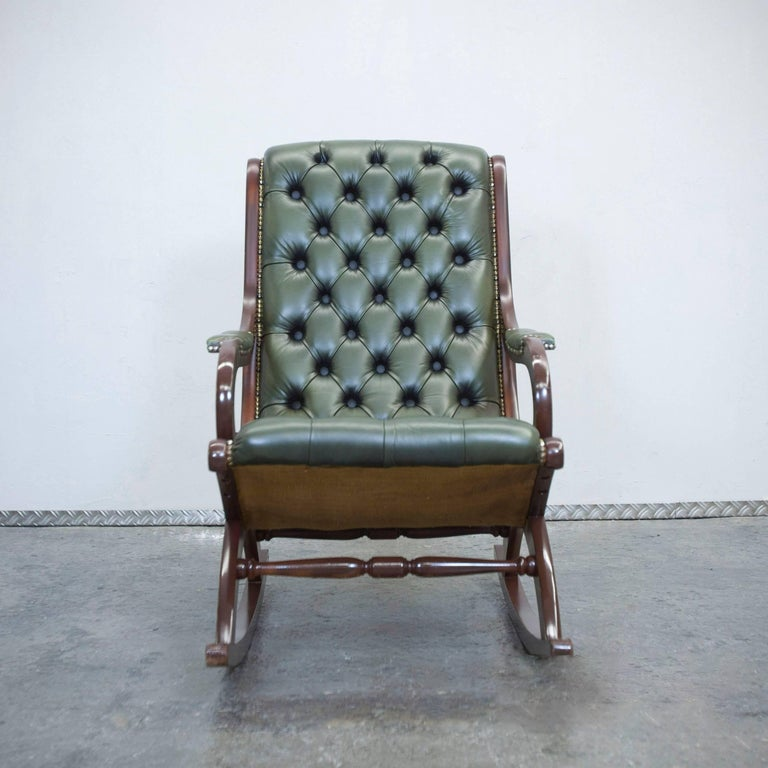 chesterfield leather rockingchair green oneseater chair vintage retro wood at 1stdibs. Black Bedroom Furniture Sets. Home Design Ideas