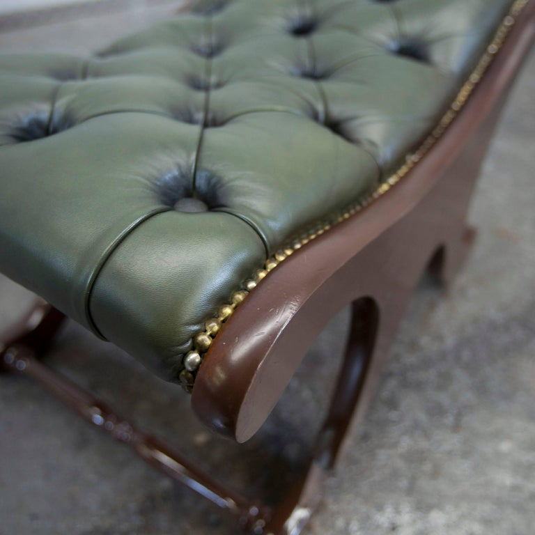 Chesterfield Leather Footstool Green Pouf Vintage Retro