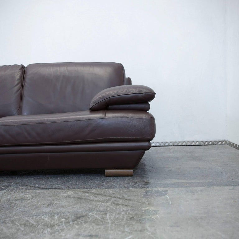 Natuzzi Designer Leather Sofa Mocca Brown Couch Modern At