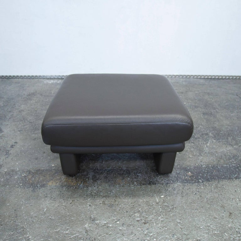Designer Leather Footstool Brown Pouf Couch Modern at 1stdibs