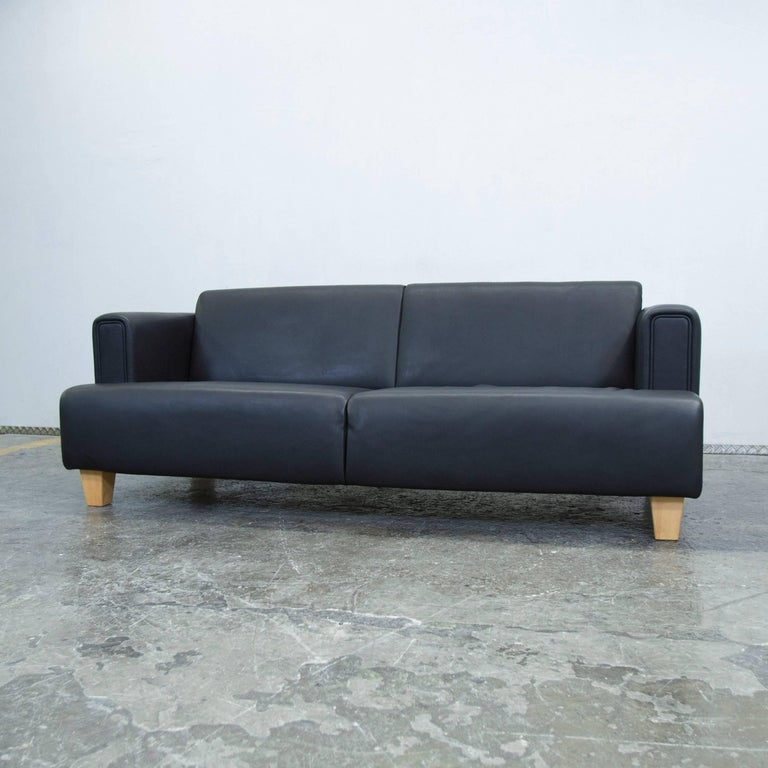 br hl and sippold designer leather sofa black two seat couch modern at 1stdibs. Black Bedroom Furniture Sets. Home Design Ideas