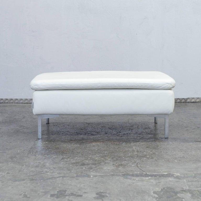 willi schillig designer leather footstool creme white pouf for sale at 1stdibs. Black Bedroom Furniture Sets. Home Design Ideas