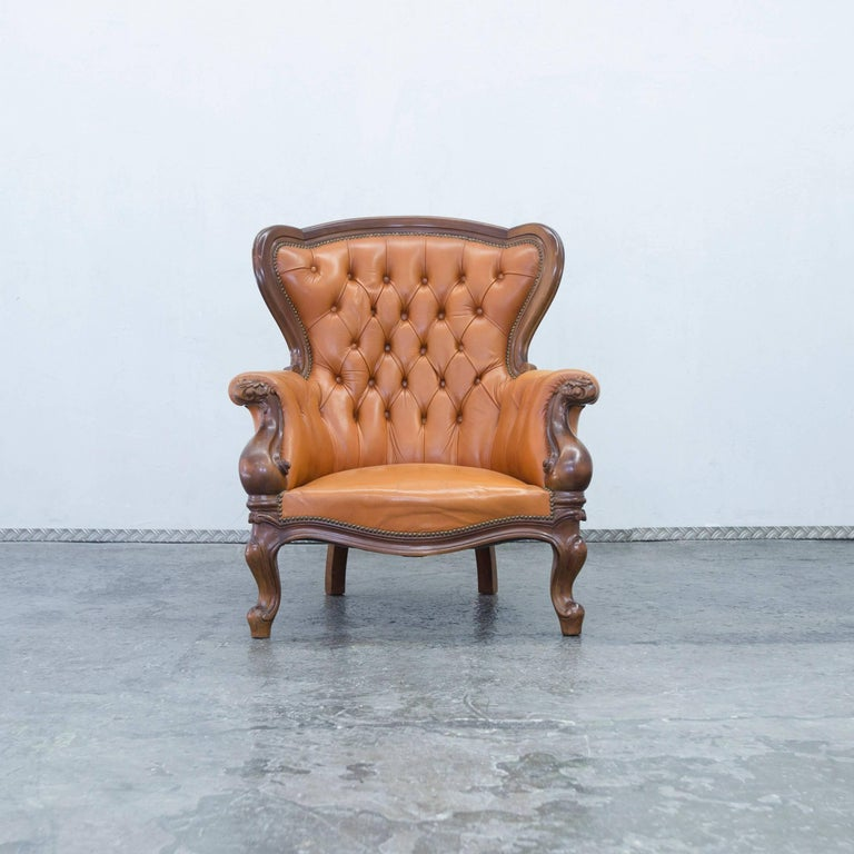 Chesterfield Leather Armchair Orange Brown Wood Vintage ...